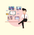 businessman sitting using mobile applications vector image vector image