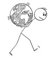 cartoon man carrying planet earth globe on his vector image