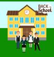 children in front of school vector image