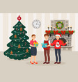 christmas and new year celebration with gifts vector image vector image