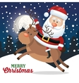 christmas card santa claus ridin deer landscape vector image