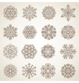 Collection of snowflakes or decorative rosettes vector image