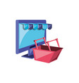computer monitor with parasol store and basket vector image vector image