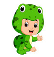 cute kids cartoon wearing frog costume vector image