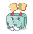 devil toaster character cartoon style vector image