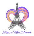 eiffel tower with colorful bright heart vector image vector image