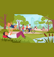 family walking in park kids with father children vector image vector image