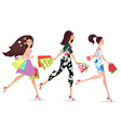 Fashion ladies walking with shopping vector image vector image