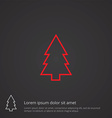 fir-tree outline symbol red on dark background vector image vector image
