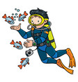 funny oceanographer or diver vector image vector image