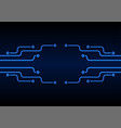 glowing blue neon circuit board chip background vector image vector image