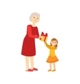 Grandmother Giving Present To Granddaughter Part vector image vector image