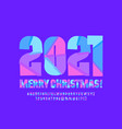 greeting card merry christmas 2021 alphabet set vector image