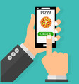 hand holding smartphone with pizza on the screen vector image vector image