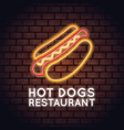 hot dog restaurant neon lights vector image