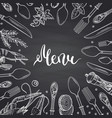 menu background on black chalkboard vector image vector image