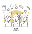 monochrome poster of team work with half body vector image vector image