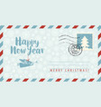new year envelope with angel snowflakes and fir vector image vector image