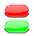 oval buttons red and green with chrome frame vector image vector image