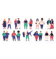 plus size couples fat attractive male and female vector image