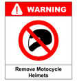 remove motorcycle helmets icon symbol protection vector image vector image