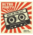 Retro party poster template with audio cassette vector image vector image