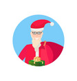 santa claus holding gift box face avatar happy new vector image vector image