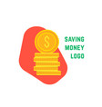 saving money logo with stack of coin vector image