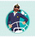 Sea captain in round water frame with ships vector image vector image