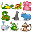 set cartoon animals with crocodile turtle vector image