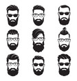 set of bearded men faces hipsters vector image vector image