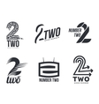 Set of black and white number two logo templates vector image vector image