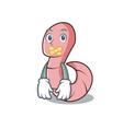 silent worm mascot cartoon style vector image vector image