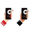 smartphone with coffee break on it in hands vector image vector image