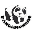 sticker design for word pandamonium with cute vector image vector image