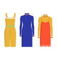 stylish fashionable knee-length summer dresses set vector image vector image