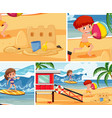 summer beach with children background set vector image vector image