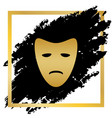 tragedy theatrical masks golden icon at vector image vector image