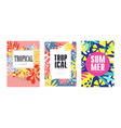 tropical summer banner templates set poster card vector image vector image
