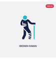 two color broken human icon from feelings concept vector image vector image