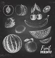 Vintage chalk drawing set of fresh fruits sketch vector image vector image