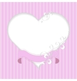 Vintage frame in shape of a heart with ribbon and vector image