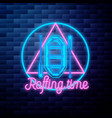 vintage rafting emblem glowing neon sign vector image