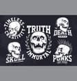 vintage skulls emblems set vector image vector image