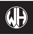 wh logo monogram circle with piece ribbon style vector image vector image
