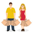 woman and man on a shopping sale with purchases vector image vector image