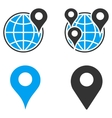 GPS Map Markers Flat Bicolor Icons vector image