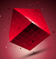 Spatial red squared technological shape ruby vector image