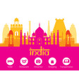 india landmarks skyline with accommodation icons vector image
