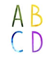 Low polygonal hand drawn alphabet vector image